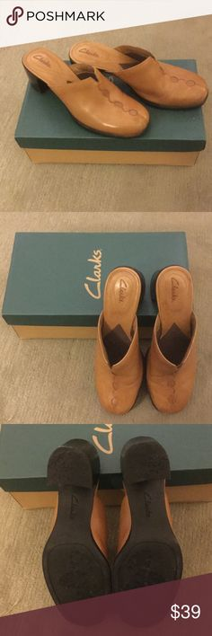 """Clark's Mule/Clog Shoes Excellent condition.  Hardly worn.  Heel is 2"""".  Leather uppers Clarks Shoes Mules & Clogs"""