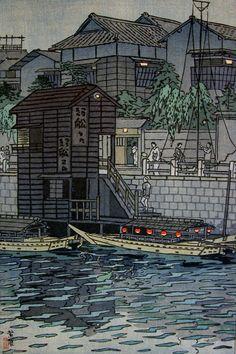 Yanagibashi in Tokyo, Shiro Kasamatsu, 1954 -- See also at: http://www.myjapanesehanga.com/home/artists/shiro-kasamatsu-1898-1991-/near-yanagibashi