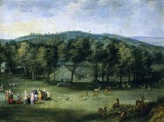 The Infanta Isabel Clara Eugenia In The Park At Mariemont  Jan Brueghel the Elder and Joos de Momper the Younger