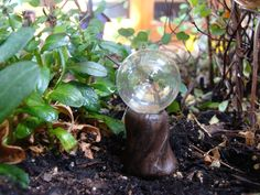 Glass Gazing Ball and Stump, Fairy Garden Accessories, Miniature Garden by GardenSpellGhostTale on Etsy https://www.etsy.com/listing/226327269/glass-gazing-ball-and-stump-fairy-garden