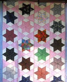 Bright 1950's FIELD of STARS Vintage Quilt  by SwankyTexasVintage, via Etsy.