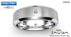 Princess Diamond Eternity Ring 18k White Gold Mens Brushed Wedding Band 0.50Ct