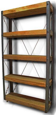 OAK/STEEL - Bookcase or Display Rack - VINTAGE/INDUSTRIAL (1500mm x 800mm)