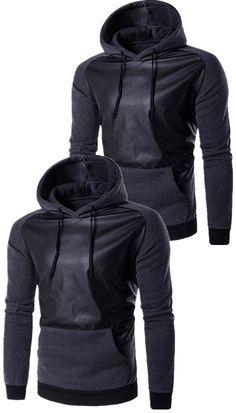 $21.48 Hooded PU-Leather Splicing Raglan Sleeve Hoodie