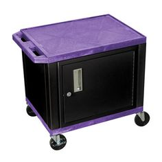 "H. Wilson 26"" Utility Storage Cart With Cabinet Purple and Black WT26PC2E-B"