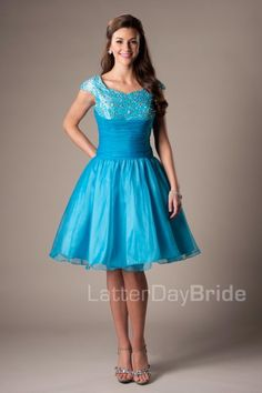 The Alexa | The sequined top goes perfectly with the sweetheart neckline on this dress.  The rouching on the waist transitions into a fun flirty skirt.    Dress available in Teal, Purple or Green    Shown in Teal    Dress Available at LatterDayBride.com or in Store At Latter Day Bride Located in Salt Lake City, Utah