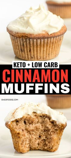 low carb yum Keto Low Carb Cinnamon Muffins with cream cheese frosting and only g net carbs per serving! These taste like real cinnamon muffins too and make the perfect keto breakfast or keto treat! You have to try these keto muffins Keto Foods, Healthy Low Carb Recipes, Low Carb Dinner Recipes, Low Carb Desserts, Healthy Dessert Recipes, Keto Recipes, Soup Recipes, Low Carb Food, Keto Desserts Cream Cheese