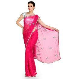 Dark Pink Swarovski Chiffon Saree | Fabroop USA