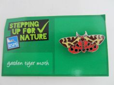 Charity Pin Badge RSPB Stepping Up For Nature Garden Tiger Moth Enamel On Card