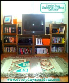 organizing your entertainment center with crates - Google Search