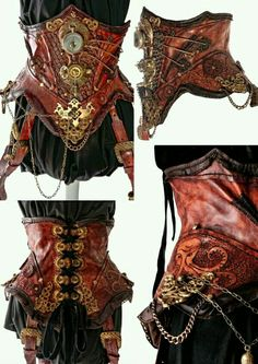Handcrafted Leather Steampunk Corset with Holsters by Blackwater Leather