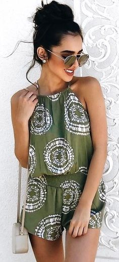 #summer #outfits olive playsuit