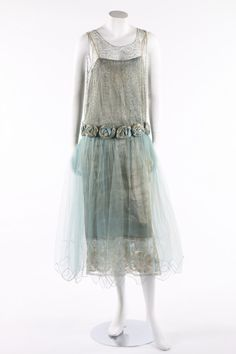 Mid 1920s tulle and silver lame party dress