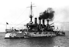 USS Connecticut Battleship BB-18 seen in 1908 probably at San Diego, California.