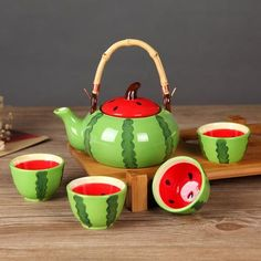 Fruit Inspired Tea Set with Tray in Watermelon