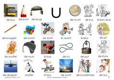 Afkijkplaat U Letter School, Learn Dutch, Dutch Language, Mini, Kids Writing, Phonics, Spelling, Alphabet, Classroom