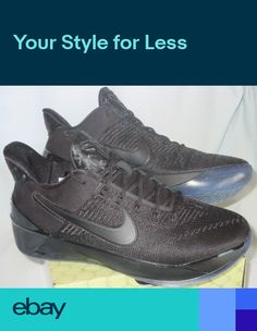 buy online 0e6b8 48ba0 NIB Nike KOBE Bryant A.D. GS Youth 5 6 Y BASKETBALL Shoes ALL BLACK 869987  064
