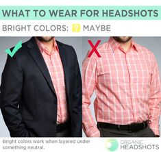 What to wear for headshots: bright colors can work in a photo, but layer it under something neutral so it's not overwhelming and distracting.