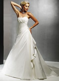 A-line Chapel Train Strapless Sleeveless Wedding Dresses