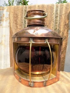Rare Vintage Copper & Brass Nautical Portside Oil Lantern from a Large Sailing Vessel. Original Large Copper Lantern. Rare. by FabFrench on Etsy