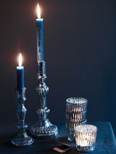 Mercuried Glass Candlesticks