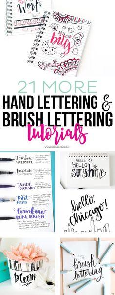 21 More Hand Lettering & Brush Lettering Tutorials Lettering Brush, Hand Lettering Fonts, Doodle Lettering, Creative Lettering, Handwritten Letters, Lettering Styles, Handwriting Fonts, Calligraphy Letters, Penmanship