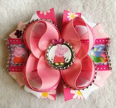 Peppa Pig Girls Hair Bow/Peppa Pig Party Bow/Peppa Pig Inspired Bow/Peppa Pig Muddy Puddles Hair Bow/Boutique Girls Hair Bow/Girly Curl Bow by GirlyCurlBowtique on Etsy