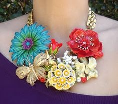 Trending Garden Chunky Necklace seen everywhere now.  Easy DIY instruction + Street Scene