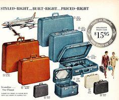 vintage #threepiece #suitcase #trunk #green #luggage #set #60s ...