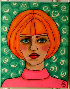 8 x 10 acrylic portrait of a blond with issues by OneWildSwan, Ready to leave home!