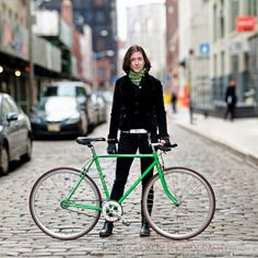 Jana is a graphic designer working in DUMBO – and that where we met for this portrait of her with her 1970s Fuji. I love the color on this bike. Though she's lived in New York for over 10 years, she only started commuting by bike four years ago.  #BikeNYC Photo by Dmitry Gudkov