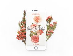 Save the date digital. Floral.