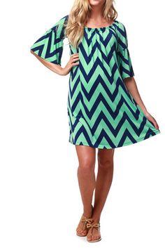 Mint Green Navy Chevron Maternity Dress