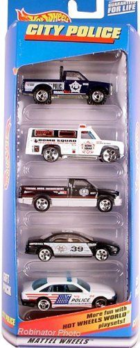 Hot Wheels City Police 5 Car Gift Pack Limited Edition 1:64 Scale Collectible Die Cast Cars by Mattel. $32.49. Hot Wheels City Police 5 Car Gift Pack Limited Edition 1:64 Scale Collectible Die Cast Cars. From 1998