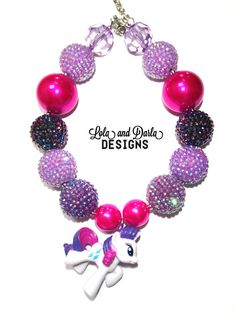 RARITY My little pony necklace chunky necklace bubblegum necklace girls necklace birthday necklace boutique necklace Chunky Bead Necklaces, Chunky Beads, Toddler Jewelry, Baby Necklace, My Little Pony Party, Girls Necklaces, My Little Pony Friendship, Beading Projects, Rarity