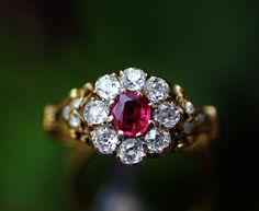 Ruby & old mine cut diamond gold ring,Mid 19th century (C)Regard Co.,Ltd