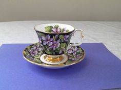 """Royal Albert """"Purple Violets"""" Teacup Set by Whitepearlfinds on Etsy"""