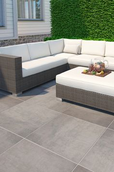 Subtle pattern on the surface of the Street tiles gives them a modern look that suits contemporary patios and terraces Contemporary Patio, Outdoor Sectional Sofa, Tiles, Outdoor Spaces, Terrace Tiles, Outdoor Porcelain Tile, Modern Garden Design, Outdoor Design, Outdoor Flooring