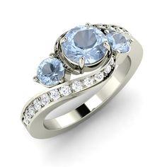 Natural Aquamarine Side-stone Engagement Ring with Diamonds in 14K White Gold - Gemstone