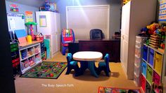 It took about 10 hrs in one day with my husband's help to make my dream speech therapy office at home:). - Emily from The Busy Speech Path