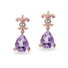 Pear-Shaped Amethyst Drop Earrings in 10K Rose Gold with Diamond Accents - Zales