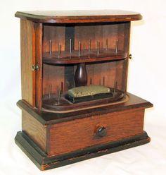 Victorian Walnut Sewing Spool Cabinet w/ Tambour Doors & Drawer