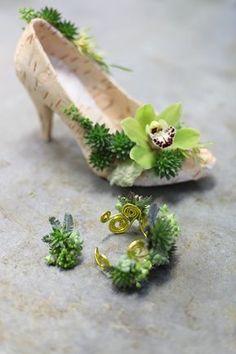 Floral shoe, bracelet and ring with birch bark, succulents, mini crassula, acacia, mini leucadenron, and a mini green cymbidium orchid, by Floral Verde LLC in Cincinnati, OH.
