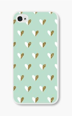 Gold Heart iPhone Case Mint Green iPhone 4 Case