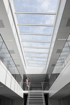 The architects from Foster + Partners in close cooperation with VELUX Modular Skylights have together created an intelligent skylight design that. Skylight Design, Atrium Design, Yellow Tree, Round House, Architecture, Blinds, Stairs, Windows, Curtains