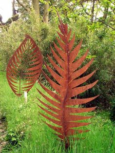 Sculpture: 'Leaf Form I (Large Metal Rowan Leaf sculpture)' by sculptor Peter M Clarke in Garden Sculptures - Garden Sculpture for sale - ArtParkS Sculpture Park - Bringing Sculpture into the Open