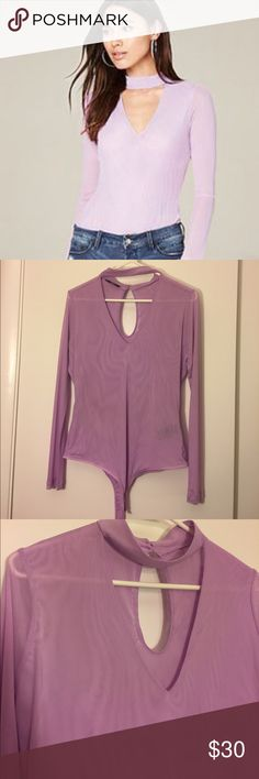 NWOT Bebe lavender bodysuit! New and never worn Bebe bodysuit. I just removed the tags. Has choker top detailing and a keyhole back with a snap panty closure. Semi-sheer mesh material, it has some really cool patterns and shows off curves! Size large, open to negotiation! bebe Tops Tees - Long Sleeve