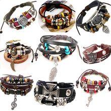 Pulseiras masculinas de couro cordão retro, pulseira de lã para mão cordão de couro, bracelete feminino e masculino, bracelete trançado cordão masculino, jóia(China (Mainland))