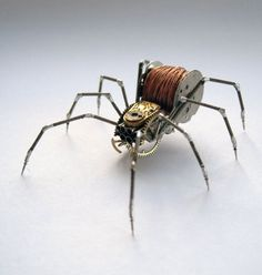 Spider Sculpture No 65 Recycled Watch Parts by amechanicalmind