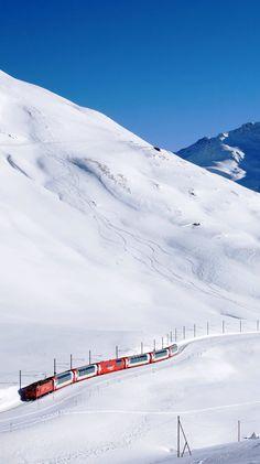Glacier Express between Zermatt and St Moritz (Switzerland)